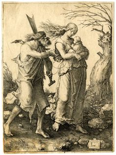 The Expulsion from Paradise; Adam and Eve, holding an infant, walk to the right; Adam is covered in a fur cloak and carries a farming instrument over his left shoulder; a tree trunk to the right edge.  1510 Engraving Lucas van Leyden