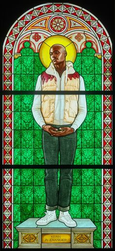 Kehinde Wiley - SAINT AMELIE , 2014 - STAINED GLASS  96 X 43.5 IN