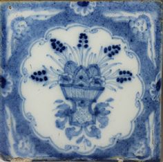 Liverpool powder blue delftware tile mid 18th century period  