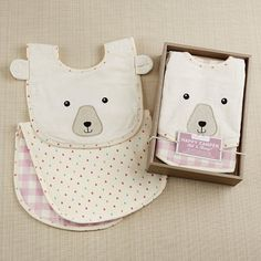Baby Aspen's Happy Camper Bib and Burp Set in Pink Plaid keeps baby cute and clean during any feeding!  | Happy Camper Bib & Burp Set (Pink Plaid)