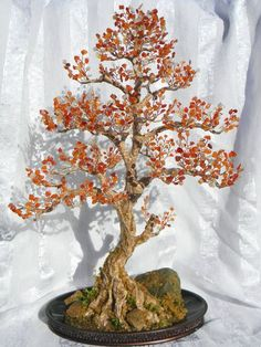 Otoño Bonsai árbol hecho a mano Home Decor cuentas por AksaBeading
