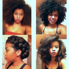 """hair2mesmerize: Top left: blow out Top right: twist out Bottom left: protective style (french braids) Bottom right: bouncy fluffy curls on straight hair"""""""