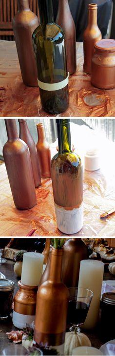 DIY Deko Vasen für eine elegante Herbsthochzeit in Kupfer und Beerentönen.