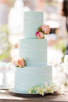 mint and peach wedding cake | Image by Studio Bee'com