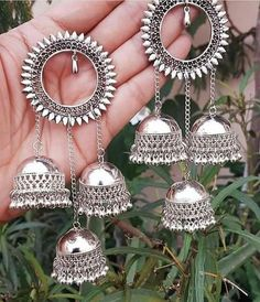 Silver jewelry Hand Made Videos - Silver jewelry Indian Earrings - - - Oxidised Silver jewelry Set - Indian Jewelry Earrings, Indian Jewelry Sets, Silver Jewellery Indian, Jewelry Design Earrings, Bridal Jewelry, Silver Jewelry, Western Jewelry, Designer Earrings, Bling Jewelry
