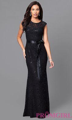 Long Sequined-Lace Formal Dress with Bow. Designer Formal DressesFormal  GownsLace ... 3de11672063a