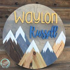 24 Rustic Mountain Sign Name Sign Handmade Custom Nursery Wood Sign, Rustic Nursery, Nursery Signs, Nursery Neutral, Nursery Room, Baby Room, Cute Baby Names, Unique Baby Names, Boy Names