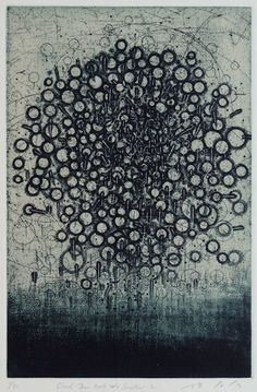 Cloud-Draw itself into Smaller-2  29.8x19.5cm  copperplate print with chine colle'( etching)  林孝彦 HAYASHI Takahiko 2012