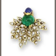 A gem-set and diamond bird brooch, by Cartier, circa 1960.    The engraved head, set with a sugarloaf cabochon sapphire crest, cabochon ruby eyes and polished beak; the breast set with a circular cabochon emerald; the bird perching via textured talons on a highly stylised branch of openwork brilliant-cut diamond leaves, diamonds approximately 1.85 carats total, signed Cartier and numbered, length 4.4cm.