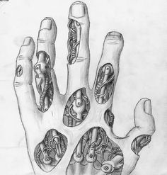 Biomechanical Hand Tattoo Sketch