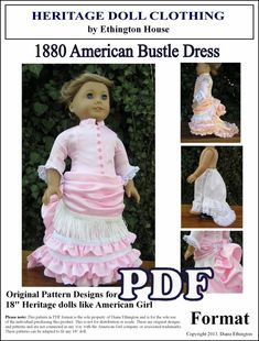 American 1880 Bustle Dress and Petticoat PDF Pattern for American Girl or 18 inch Doll - INSTANT DOWNLOAD