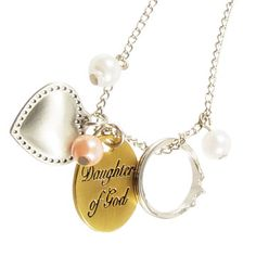 This Daughter of God necklace is PERFECT! Pearls, a crown and a heart - classy and pretty!
