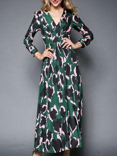 Green V Neck Long Sleeve Print Dress 60.99