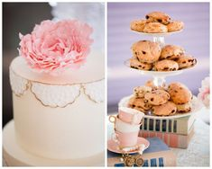 tea party bridal shower, stephanie uchima, preppy chic, cookies, dessert table, cake, lace, peony