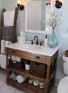 Bathroom Vanities, Tasty Alluring Rustic Bathroom Vanity Cart Ideas White Counter Top Glass Vase Dim Wall Lights Double Storage Black Brushed Nickel Faucet Standing Towel Awesome Cute And Unique ~ Natural Atmosphere Will You Find From Rustic Bathroom Vanity Lights