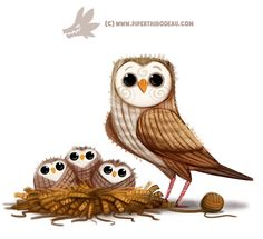 Daily Paint Yarn Owl by Cryptid-Creations on DeviantArt Cute Animal Drawings, Cute Drawings, Cute Owl Drawing, Owl Illustration, Illustrations, Cute Puns, Animal Puns, Owl Art, Cute Animals