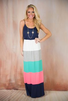 Pink Coconut Boutique | Striped Out Maxi Dress - Navy