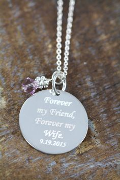 Personalized Wedding Gift for the Bride from Groom - Custom Wedding Jewelry - Engraved Pendant #WeddingGift #GiftForBride