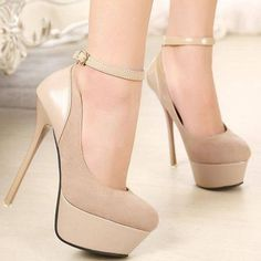 Lovely beige high heel #shoes with ankle strap