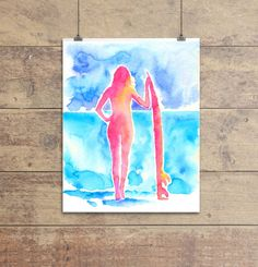 Watercolour print Surfer Girl Ocean Art by CraftyCowDesign, nautical paintings, boyfriend gifts, home decor poster, paintings for him, husband present her, surf board artwork, new home presents, housewarming idea, wife paintings, beach house posters, beach hut ideas, ocean watercolors, sea marine drawing,