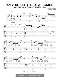 Can You Feel the Love Tonight (from The Lion King): For voice and piano (or guitar) by Elton John Printable Sheet Music, Digital Sheet Music, Piano Lessons, Music Lessons, Elton John Songs Lyrics, Feeling Loved, How Are You Feeling, Le Roi Lion, Disney Music
