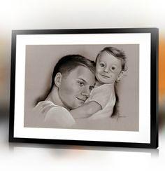 Father with baby Father's day custom hand drawn portrait from photo by Jacek Jaśkowiak PortraitsBuy