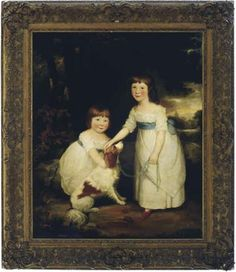 Circle of Sir William Beechey R.A. (British, 1753-1839) -  Portrait of two young sisters with a dog in a landscape -  oil on canvas,  48½ x 40 in. (123.1 x 101.6 cm.)