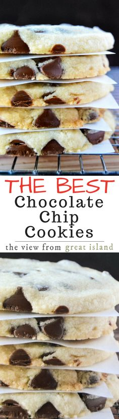 I know, everybody and their grandmother thinks they make the best chocolate chip cookies ~ and it gets a little old after a while. With nuts, without nuts, thick, thin, chewy, crispy, blah blah blah... but this shortbread based chocolate chip cookie recipe is truly the best!