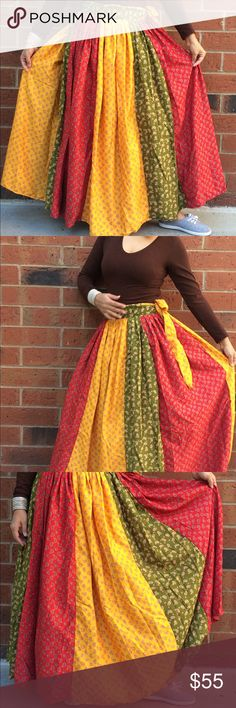 Long gypsy wrap skirt handmade maxi skirt Wrap Skirt, Gypsy skirt, Tribal Skirt,  belly dance skirt, Boho skirt Big wrap long maxi skirt is made out of cotton. It is a wrap skirt which can be adjusted to your size by wrapping around your waist. It is made out of about 5 yards of fabric.   Suited for Summer ,Spring, Winter and Fall. Looks great for music festival boho dancers, dress up parties, fall and summer yoga meditation festivals  Material: 100 % Cotton Size: One size ( Adjustable)…