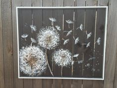 Recycled window screenDandelionFloral Painting by RebecaFlottArts