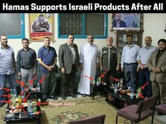 Joke of the day: A week after endorsing BDS, Hamas officials were photographed drinking Israeli products at a recent meeting. Stay thirsty Hamas! (From FB Hananya Naftali)