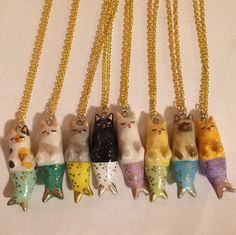 Puurmaid Polymer Clay Necklace / Cat Mermaid / Meowmaid / Mermaid / Polymer Clay