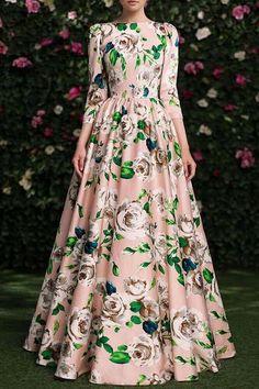 3/4 Sleeve Floral Print Maxi Dress