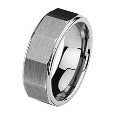 *** LASER ENGRAVING SERVICE *** 8MM Beveled Faceted Men's Cobalt Free Tungsten Carbide Comfort-fit Wedding Band Ring (Size 8.5 to 12.5) [DETAIL INFORMATION - PLEASE CLICK AND CHECK THE ITEM DESCRIPTION] - Size 11.5. Tungsten Carbide is one of the hardest metals on earth, making it quite literally scratch proof. **Does not apply for coated Tungsten Bands**. Promptly Packaged with Free Gift Box...Perfect for gift giving. All tungsten rings include free standard shipping with purchase....