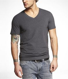 Express Mens Stretch Cotton Deep Vneck Tee Gray Heather, Small