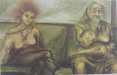 Serpil Yeter: U-Bahn'daki Çelişki, (1983). Kagit uzerine pastel 78×58 cm.