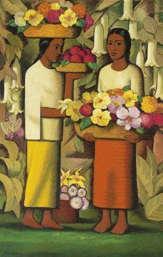mujeres con flores, alfredo ramos martinez
