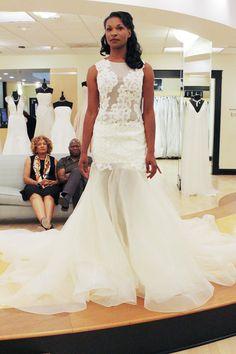 Season 9 Featured Dress: Alyne. Ivory. Mermaid. Lace & Silk organza. Sleeveless drop waist, lace floral pattern.  $3,600  #0129035