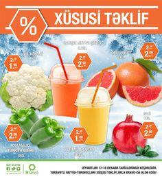 BRAVO-DA XÜSUSİ HƏFTƏSONU FÜRSƏTLƏRİ! Bu şənbə və bazar günləri müxtəlif qida məhsullarını xüsusi qiymətlərlə əldə edə bilərsiniz. Ünvan: Gənclik Mall, -1-ci mərtəbə. Tel: (012) 404 13 78  SPECIAL WEEKEND DEALS AT BRAVO! You can purchase variety of fresh foods for special prices at Bravo on this Saturday and Sunday! Address: Ganjlik Mall, -1. Floor. Tel: (012) 404 13 78