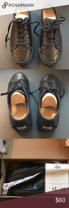 UGG J I Heart Lace Up Black Glitter Sneakers New in a box UGG sneakers.  See photo #4 for box label information.  Price is firm.  I offer 10% discount on bundle purchases of 2 or more items. UGG Shoes Sneakers
