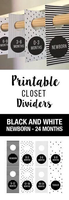 Black and White Nursery Theme! Print these closet dividers at home and hang them in your close to organize your baby clothes. Black and White baby room, nursery, baby decor, black and white, geometric, closet dividers, baby labels, baby shower gift, baby boy, baby girl, printable, DIY, Cheap Baby Gift, Baby Gift, Organize, Organization