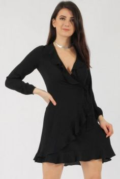 Frill Wrap Skater Dress black