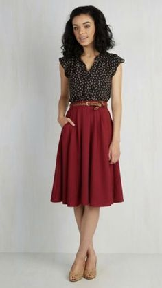 2017 business / work fashion! Take the stress out of shopping for work clothes & ask your Stitch Fix stylist to send you items like these. Delivered right to your door! #stitchfix #Sponsored Red skirt, black & white polka dot button up, short ruffle sleeved, tucked with belt