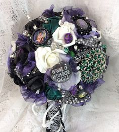 Disney Wedding Flower Bouquet-Haunted Mansion-Destination Wedding-Brides Flowers-Bridal Brooch Bouquet-Disney Flowers-Fantasy Wedding