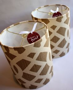 Pair of small lampshades featuring authentic F. Schumacher Imperial Trellis Natural-Coffee linen.  www.etsy.com/shop/dmccaulla