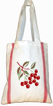Cotton Tote Bag ~ Vintage Style CHERRIES Cherry Kitchen Towel