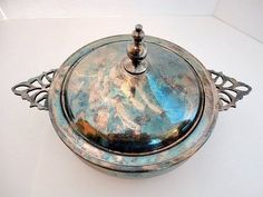 Vintage Serving dish Silver Plate Covered Dish FB Rogers 1960s Heavy Patina Mismatched Silver Set