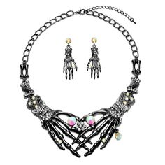 Buy Punk Necklace arrings Set - Hypoallergenic Gothic Skull Skeleton Choker Statement Necklace Earrings Jewelry Set For Women, Girls Including 1 Chunky Necklace, 1 Drop Earrings and other Chokers at . Bar Earrings, Statement Earrings, Skull Earrings, Halloween Earrings, Halloween Jewelry, Necklace Set, Earring Set, Women Jewelry, Jewelry Sets
