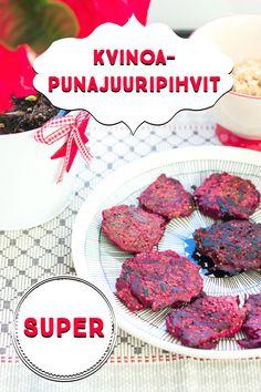 Kvinoa-punajuuripihvit ovat terveelliset ja herkulliset kasvispihvet. Cereal, Meat, Vegetables, Breakfast, Recipes, Food, Drinks, Kitchen, Morning Coffee