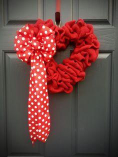 Red Heart Wreath Burlap Door Decor Shaped Wreaths Polka Dots Valentines Day Love Gift